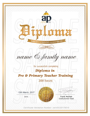 Aptti diploma pre and primary teacher training certificate